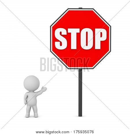 3D character showing a large stop sign. Isolated on white background.