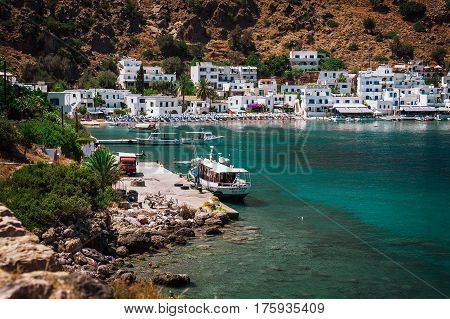 LOUTRO, CRETE, GREECE - JULY 2016: Small sea port at Loutro town on Crete island, Greece