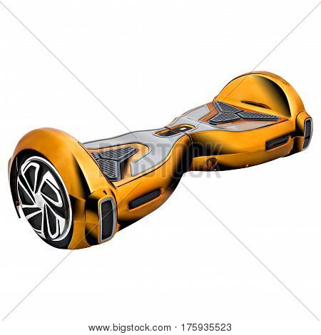 Gold hover board, on a White Background
