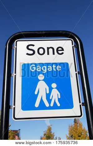Trafic sign at the beginning of a Norwegian pedestrian zone (gagate sone).