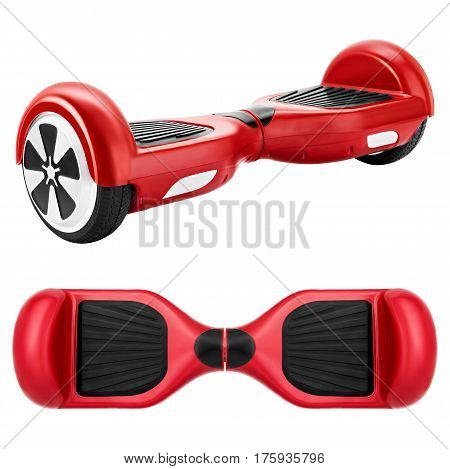 Red hover board, on a White Background poster