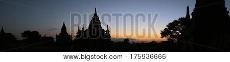 Panorama at sunset of the temple complex of Bagan Myanmar