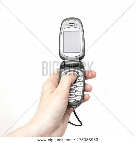 Girl is holding in hand retro flip flop mobile phone. White background, front view
