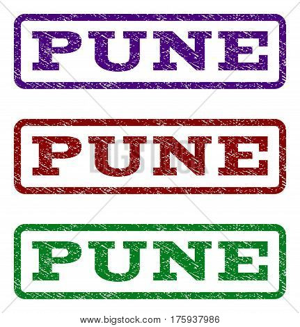 Pune watermark stamp. Text caption inside rounded rectangle frame with grunge design style. Vector variants are indigo blue, red, green ink colors. Rubber seal stamp with unclean texture.