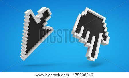 computer icons of hand and arrow cursor