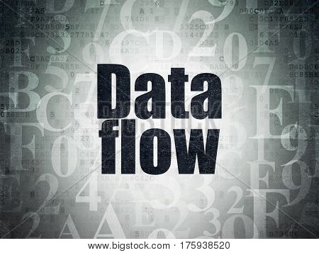 Information concept: Painted black text Data Flow on Digital Data Paper background with   Hexadecimal Code