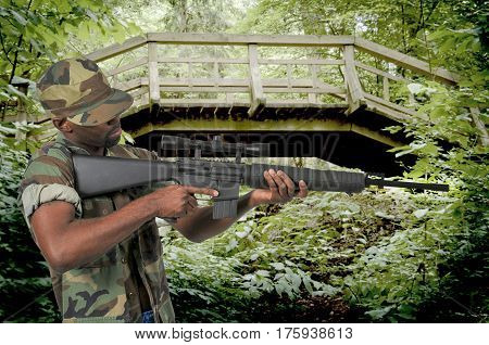 Handsome young black African American man soldier with a rifle