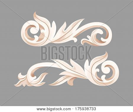 Two vector baroque vignettes with acanthus foliage