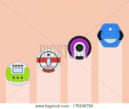 Set of vaccum cleaner appliance. Home cleanup device. Vacuum cleaner appliance design. Vector illustration.
