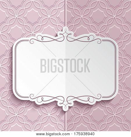 Flourish frame with swirly decorative border, sticker, folded greeting card or wedding invitation template