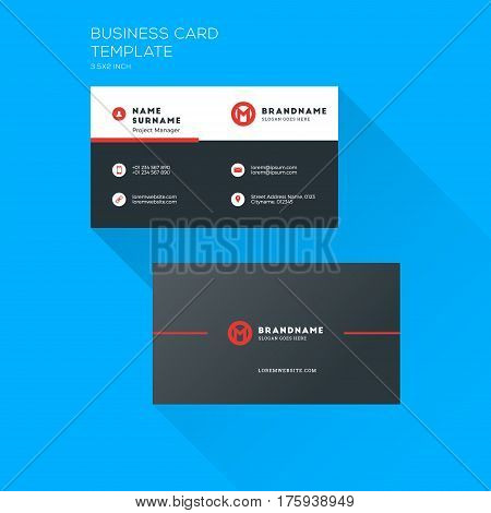 Corporate Business Card Print Template. Personal Visiting Card With Company Logo. Clean Flat Station