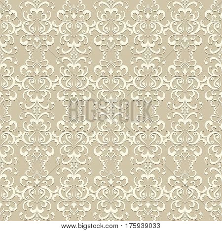 Vintage beige swirly ornament, vector lace texture, seamless pattern in neutral color