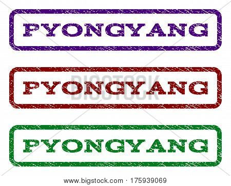 Pyongyang watermark stamp. Text caption inside rounded rectangle with grunge design style. Vector variants are indigo blue, red, green ink colors. Rubber seal stamp with dust texture.
