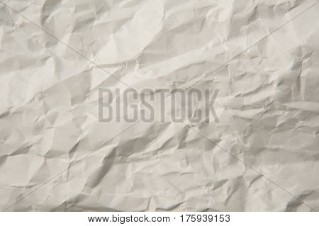 Texture of white crumpled paper close up