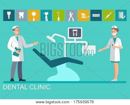 The dentist and nurse near the dental chair. Flat illustration