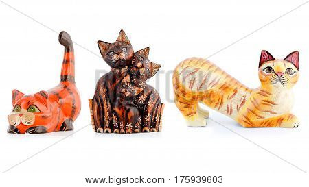 Wooden figurines, decorative figurines, cats, Isolated on a white background