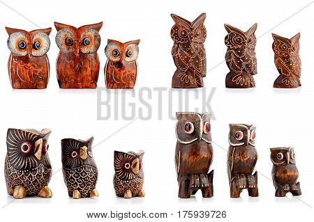 Wooden figurines, decorative figurines, owl, Isolated on a white background