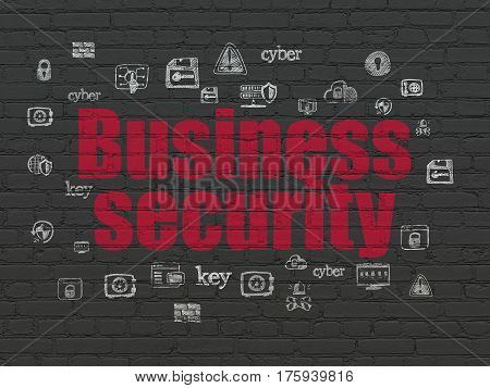 Security concept: Painted red text Business Security on Black Brick wall background with  Hand Drawn Security Icons