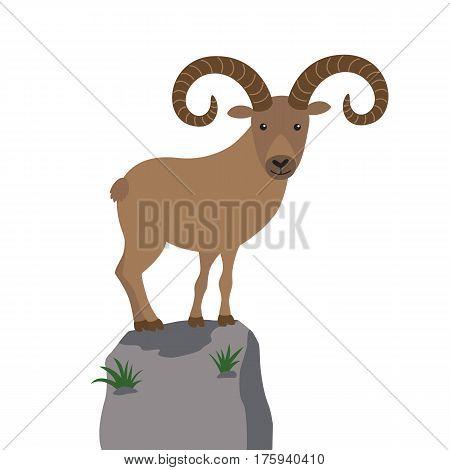 Cartoon mountain goat on a mountaintop vector illustration for children