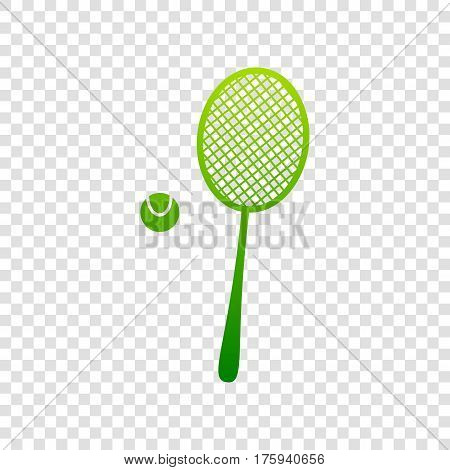 Tennis racquet sign. Vector. Green gradient icon on transparent background.