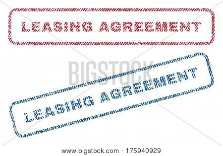 Leasing Agreement text textile seal stamp watermarks. Blue red fabric vectorized texture. Vector caption inside rounded rectangular banner. Rubber sticker with fiber textile structure.