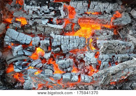 The fire and ashes in the metal brazier background