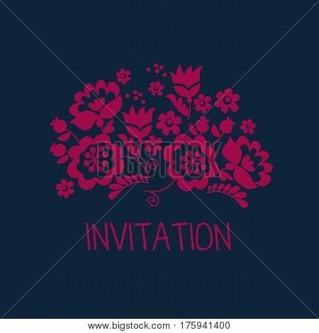 Simple floral decorative element inspired by Ukrainian folk culture. Monochrome red flower silhouette stylized in naive retro