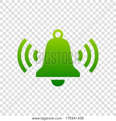 Ringing Bell Icon. Vector. Green Gradient Icon On Transparent Background.