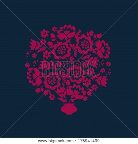Simple floral decorative bouquet inspired by Ukrainian folk culture. Monochrome red flower silhouette stylized in naive retro