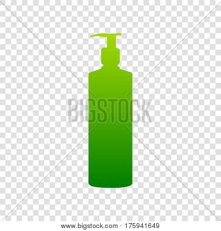 Gel, Foam Or Liquid Soap. Dispenser Pump Plastic Bottle Silhouette. Vector. Green Gradient Icon On T