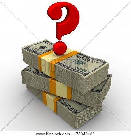 The money question. Packs of US dollars tied with a tapes on a white surface with a red question mark on them. Isolated. 3D Illustration