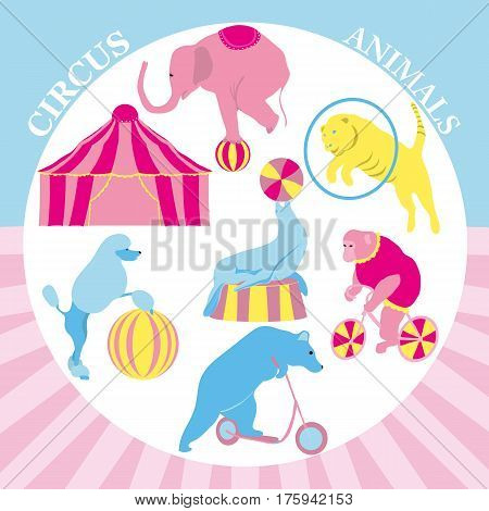 Vector illustration of Circus clip art set. Vintage hipster collection with monkey, tiger, bear, elephant, pudel, seal, icons and background. Animals in the arena