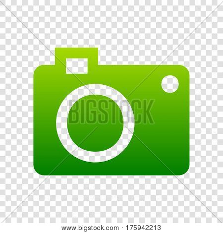 Digital Camera Sign. Vector. Green Gradient Icon On Transparent Background.