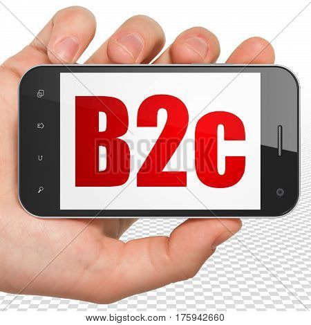 Business concept: Hand Holding Smartphone with red text B2c on display, 3D rendering