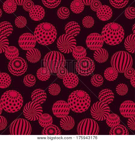 circle red beads necklaces on black background. creative modern geometry style seamless pattern for fabric, music poster, flyers, backdrop. contemporary repeatable geometric motif