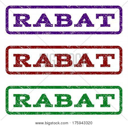 Rabat watermark stamp. Text tag inside rounded rectangle frame with grunge design style. Vector variants are indigo blue, red, green ink colors. Rubber seal stamp with unclean texture.