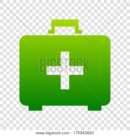 Medical First Aid Box Sign. Vector. Green Gradient Icon On Transparent Background.