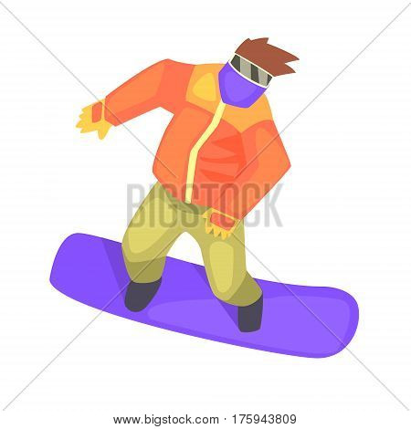 Guy On Snowboard, Part Of Teenagers Practicing Extreme Sports For Recreation Set Of Cartoon Characters. Stylized Geometric Illustration With Young Man Doing Extremal Sport For Hobby.