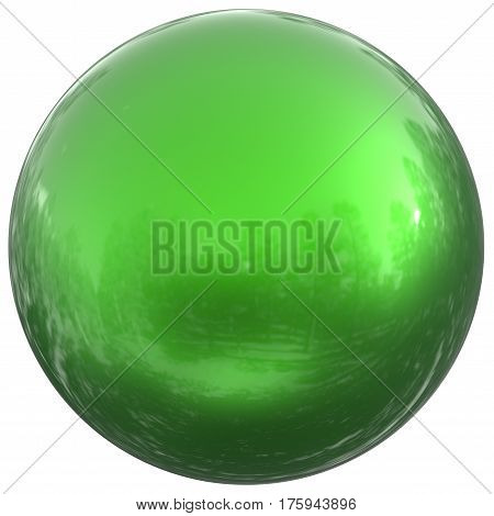 Sphere round button green ball basic circle geometric shape solid figure simple minimalistic atom element single drop shiny glossy sparkling object blank balloon icon. 3d render illustration isolated