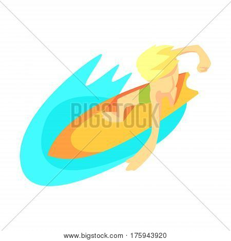 Surfer On Surf Board From Above, Part Of Teenagers Practicing Extreme Sports For Recreation Set Of Cartoon Characters. Stylized Geometric Illustration With Young Man Doing Extremal Sport For Hobby.