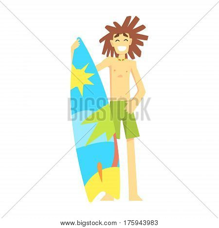 Surfer Standing With Surf Board, Part Of Teenagers Practicing Extreme Sports For Recreation Set Of Cartoon Characters. Stylized Geometric Illustration With Young Man Doing Extremal Sport For Hobby.