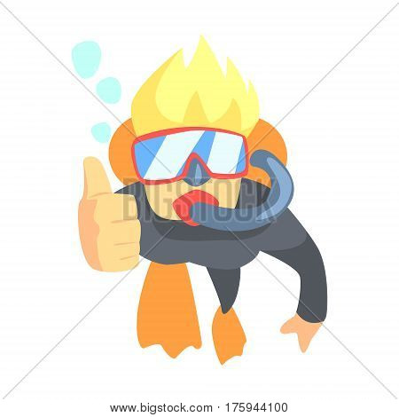 Scuba Diver Swimming Underwater with Diving Gear, Part Of Teenagers Practicing Extreme Sports For Recreation Set Of Cartoon Characters. Stylized Geometric Illustration With Young Man Doing Extremal Sport For Hobby.