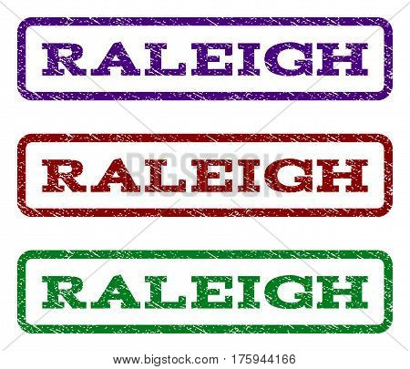 Raleigh watermark stamp. Text tag inside rounded rectangle with grunge design style. Vector variants are indigo blue, red, green ink colors. Rubber seal stamp with scratched texture.