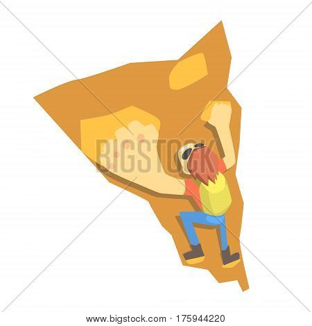 Guy Clombing A Wall, Part Of Teenagers Practicing Extreme Sports For Recreation Set Of Cartoon Characters. Stylized Geometric Illustration With Young Man Doing Extremal Sport For Hobby.