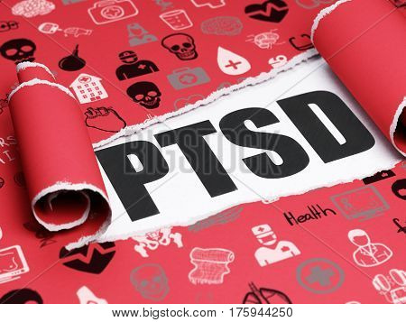 Healthcare concept: black text PTSD under the curled piece of Red torn paper with  Hand Drawn Medicine Icons, 3D rendering
