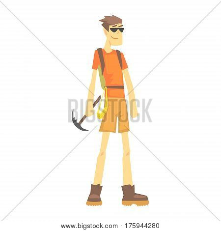 Mountaineer With Ice Pick, Part Of Teenagers Practicing Extreme Sports For Recreation Set Of Cartoon Characters. Stylized Geometric Illustration With Young Man Doing Extremal Sport For Hobby.