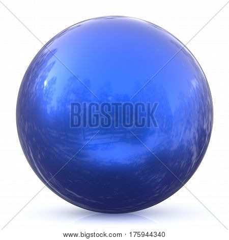 Sphere round button blue ball basic circle geometric shape solid figure simple minimalistic atom element single drop shiny glossy sparkling object blank balloon icon. 3d render illustration isolated