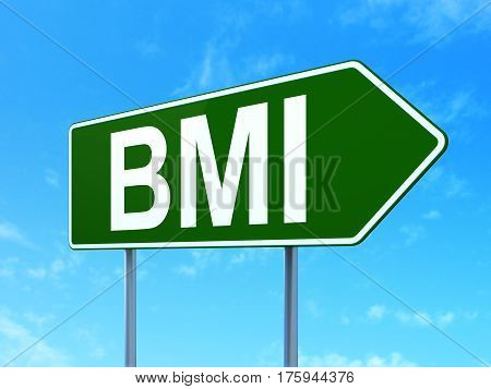 Medicine concept: BMI on green road highway sign, clear blue sky background, 3D rendering