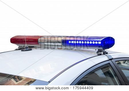 police light and siren on the car in the street. isolated