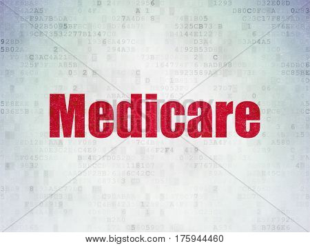 Medicine concept: Painted red word Medicare on Digital Data Paper background